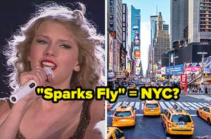 A close up of Taylor Swift as she sings into a microphone and a picture of Times Square in New York City