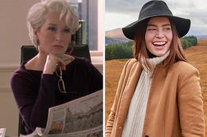"""Miranda Priestly sits at her desk as she glares at someone in """"The Devil Wears Prada"""" and a young woman wears a turtleneck sweater under a thick overcoat with a wide brim hat"""