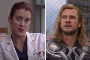 """A """"Grey's Anatomy"""" doctor is on the left with Thor on the right looking up"""