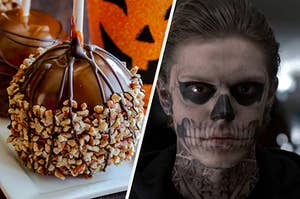 A candy apple covered in nuts and a close up of Evan Peters with skeleton makeup on