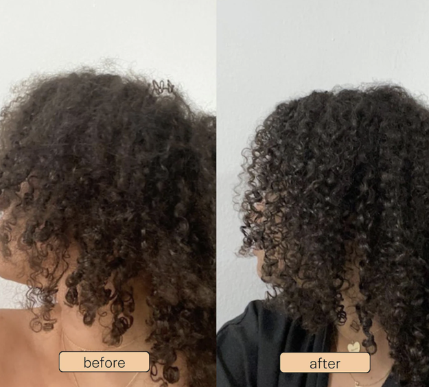 product user with curly hair before and after using the cream, the after with more defined curls