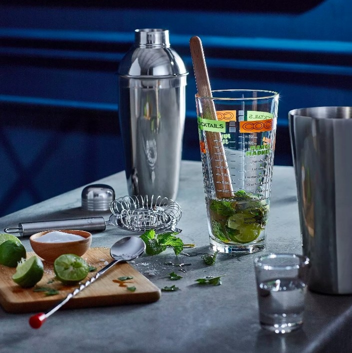 The shaker set being used to make cocktails