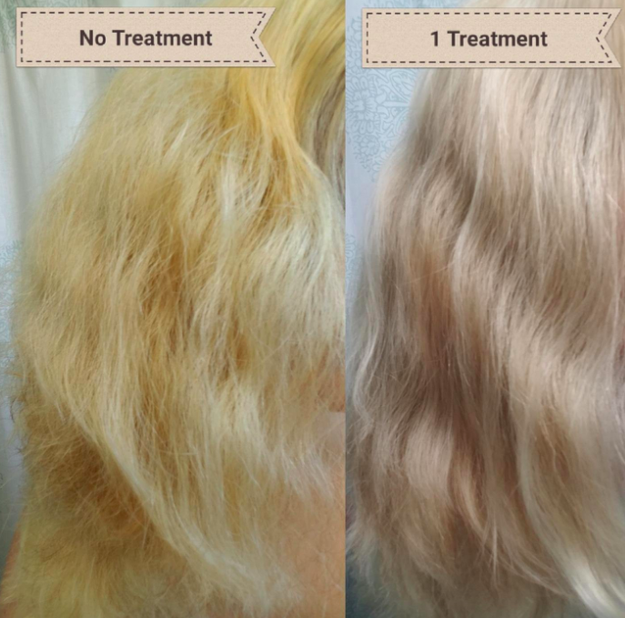A before and after customer review photo showing their hair's progress using Olaplex