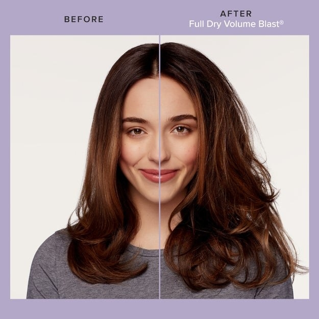 brunette showing before and after using living proof dry volume blast, with much more voluminous hair after