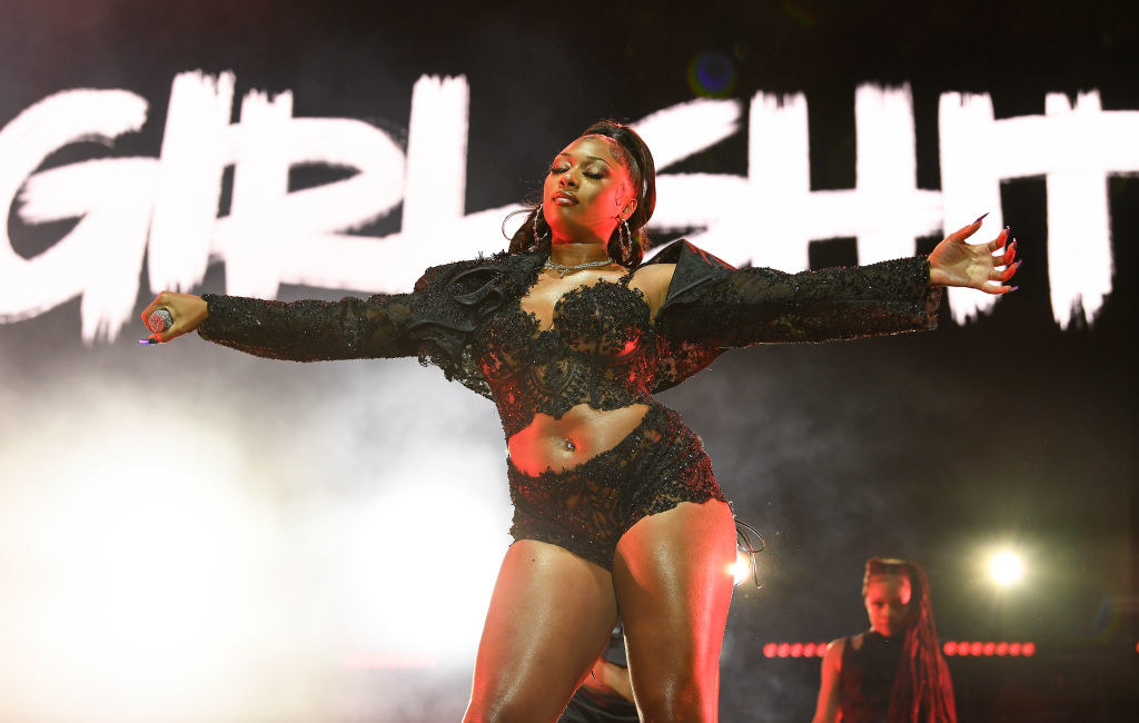 Megan performing on stage