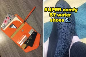 passport holder and water shoes