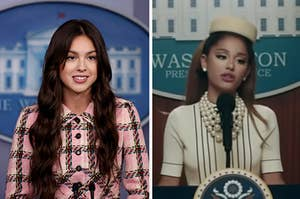 Olivia Rodrigo wears a brightly colored plaid skirt suit and Ariana Grande wears a cream colored short sleeve blouse, pearls, and a box hat