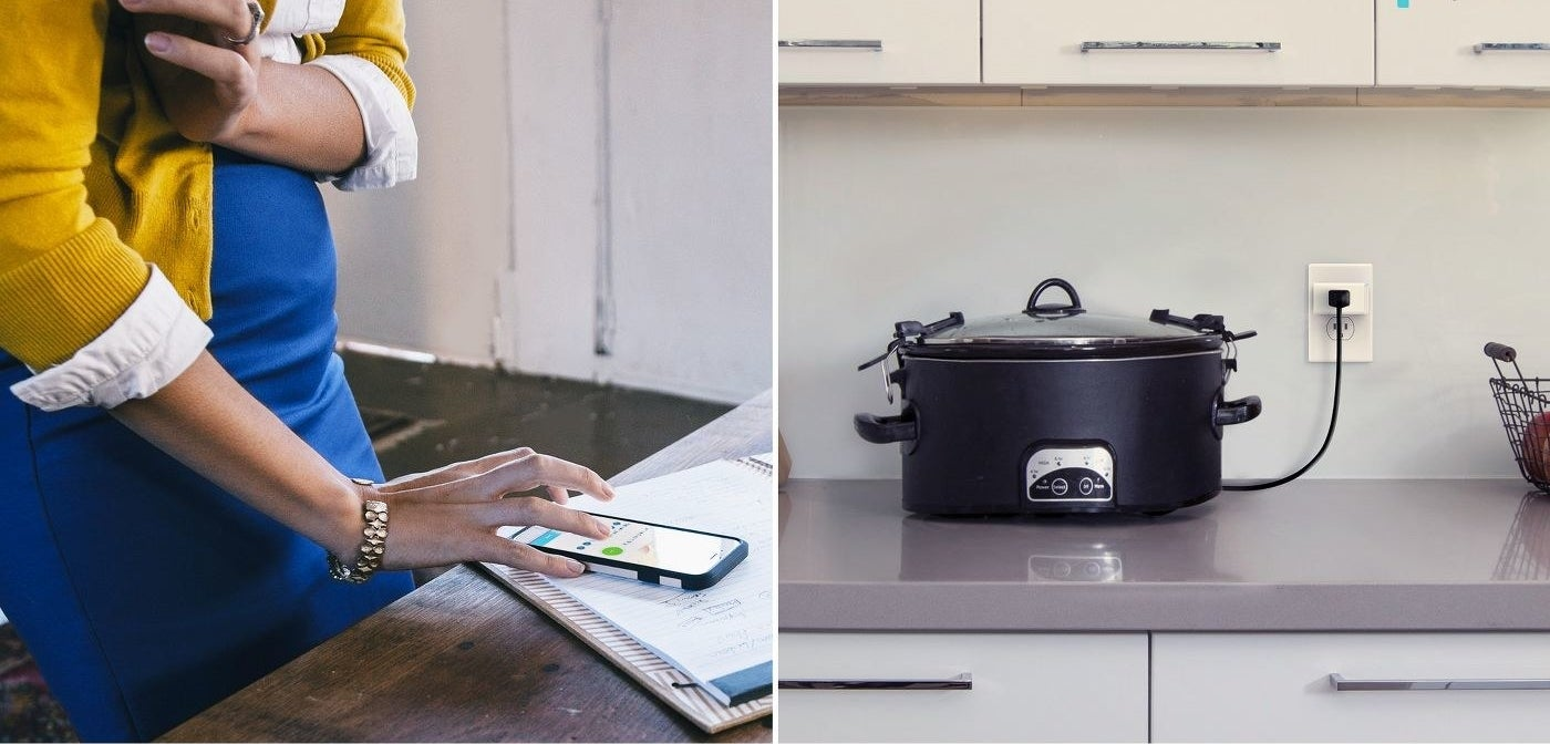 a model controlling a slow cooker plugged into the smart plug using their phone