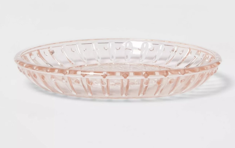 a pink soap dish