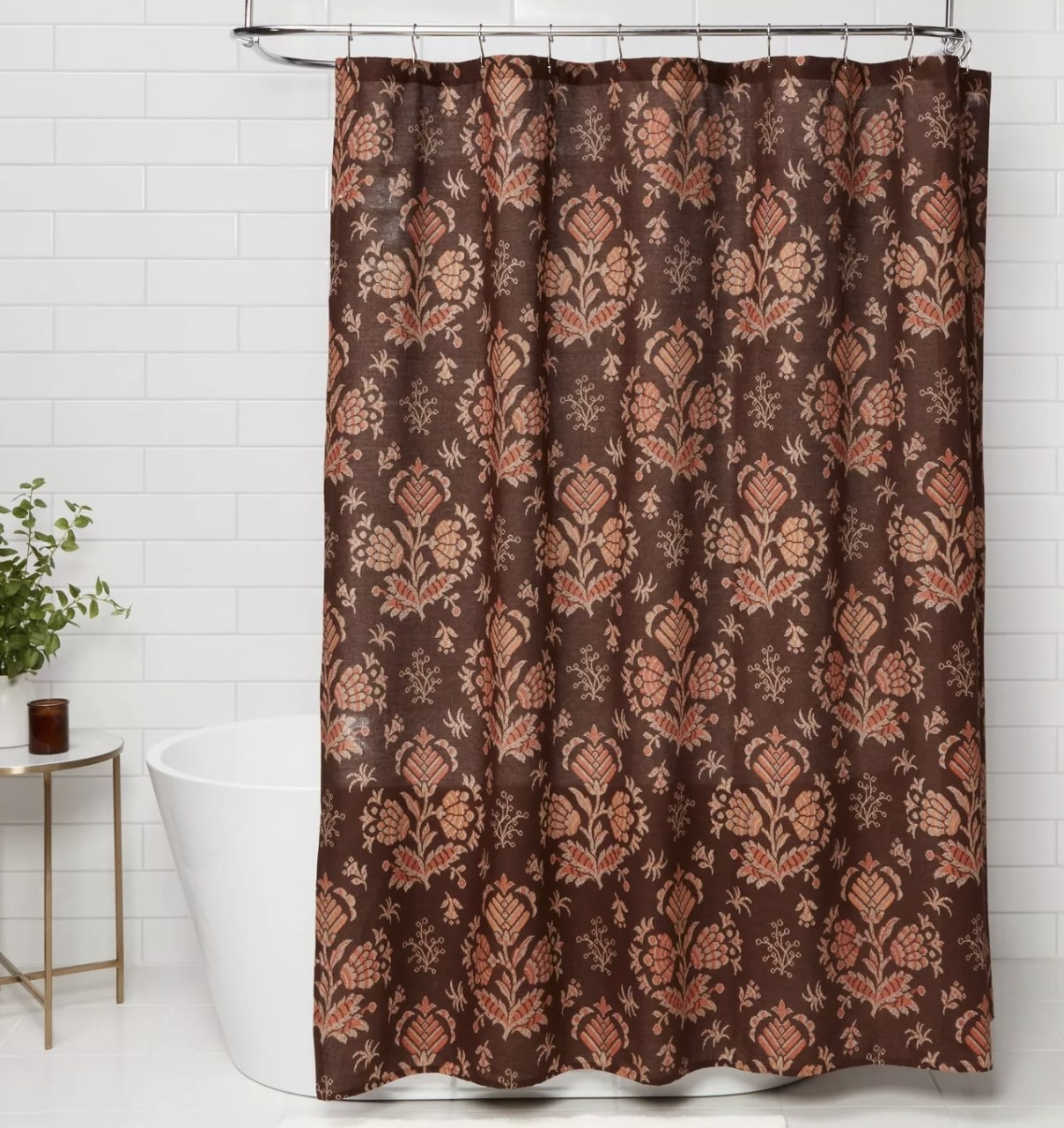 a brown and orange paisley shower curtain