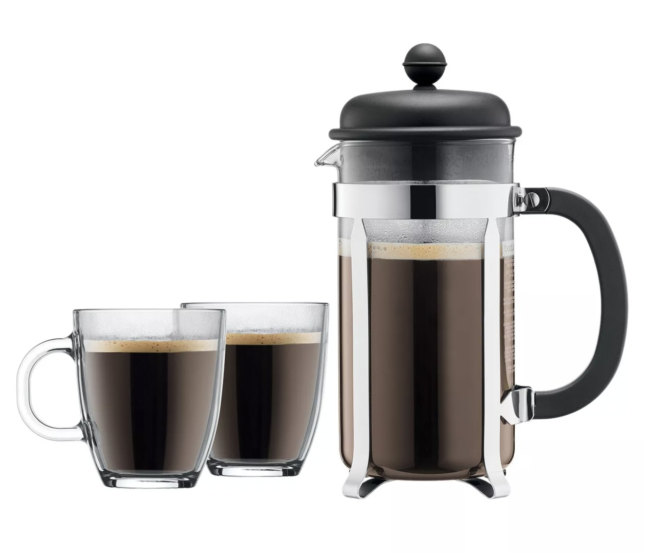 the French press with two glass mugs, all holding coffee