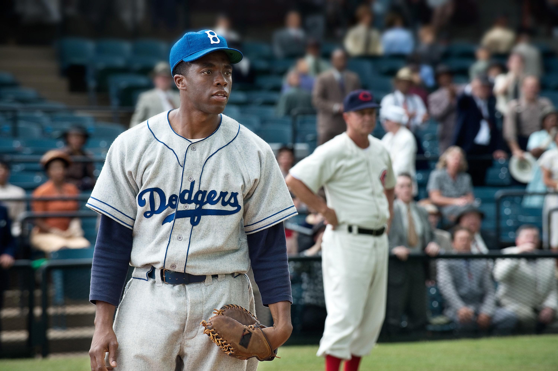 Jackie Robinson wearing his Dodgers uniform