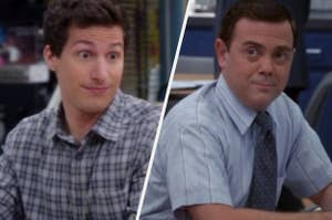 A close up of Jake with his eyes comically wide and Charles sits at his desk at the police precinct while he smiles at someone off screen