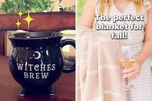 left image: witches' brew mug, right image: chappywrap blanket
