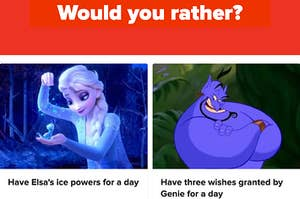 Elsa is on the left playing with magic, with Genie on the right and his arms crossed