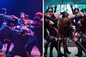A boy group is huddled on the left with a girl group huddled on the right