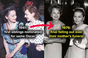 Joan Fontaine and her sister and fellow actor Olivia de Havilland