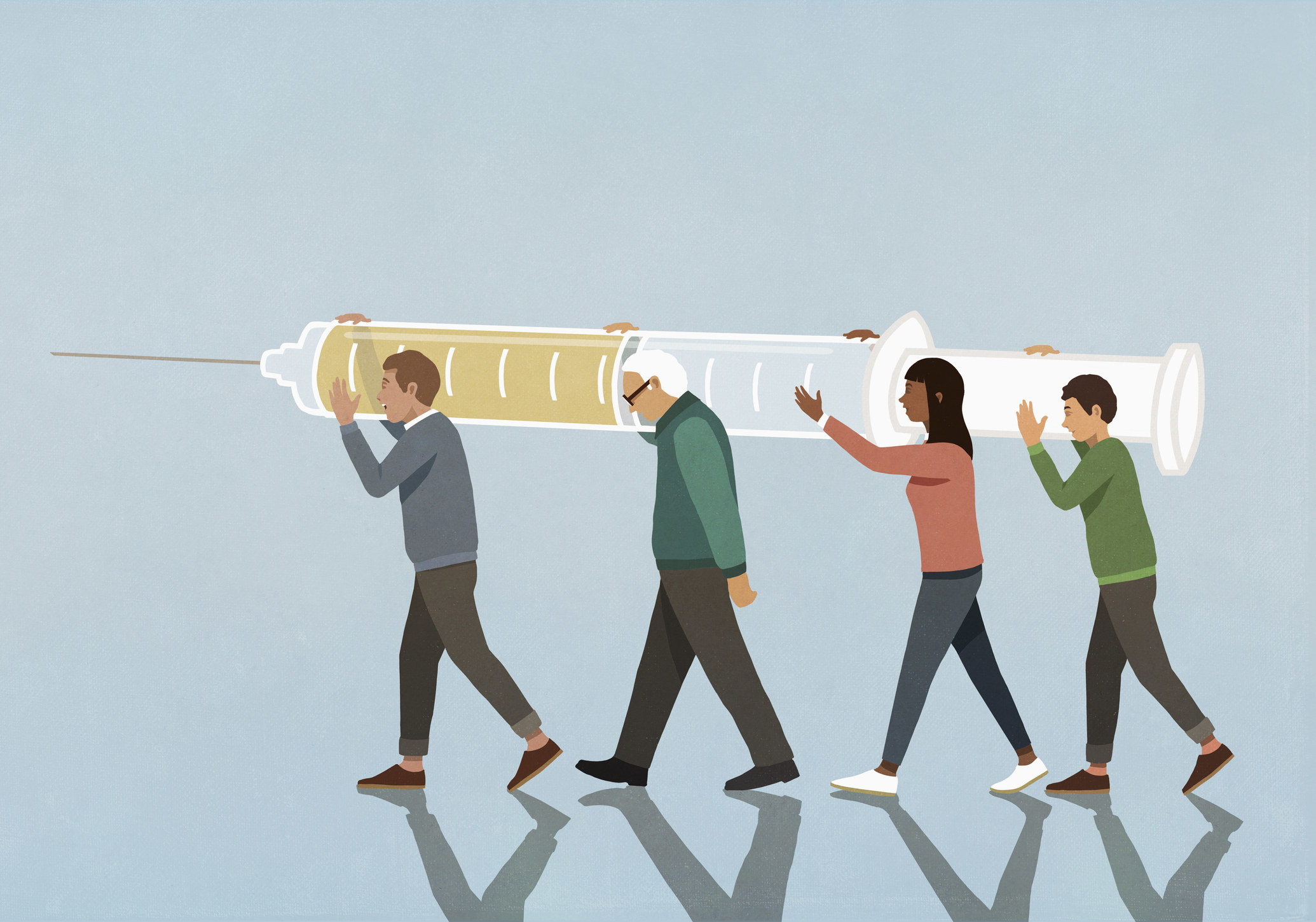 Illustration of people carrying vaccine