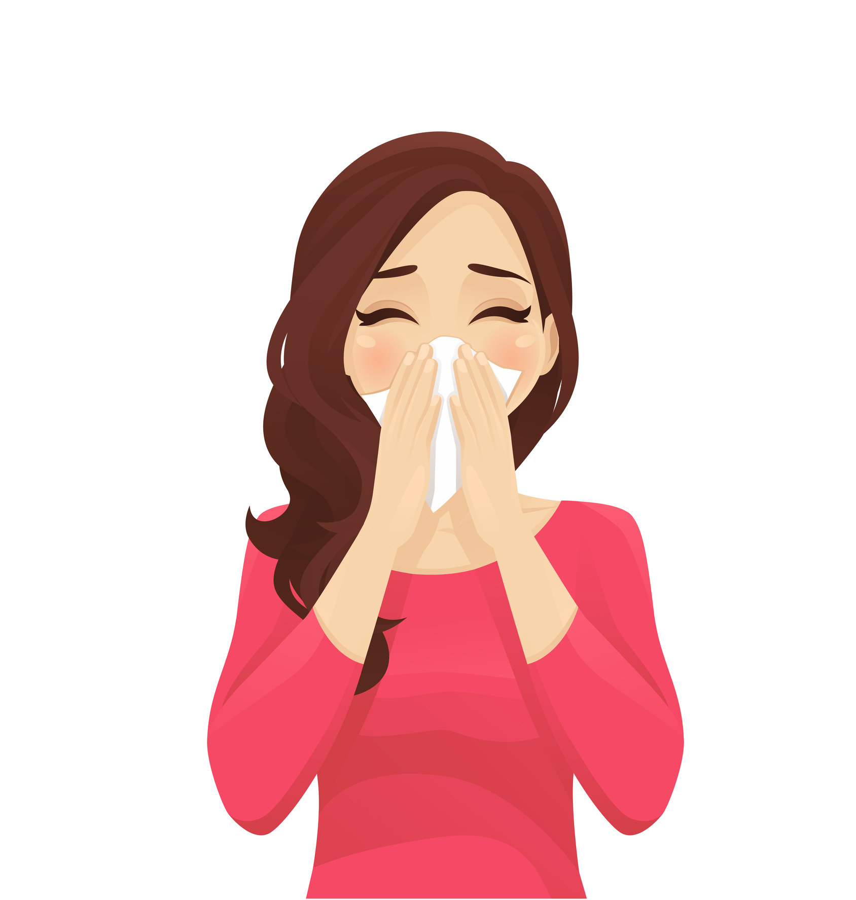Sick woman blowing nose