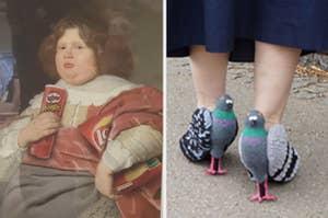 A woman wears heels that look like pigeons