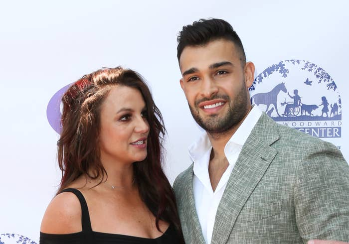 Britney Spears looks at Sam Asghari on the red carpet