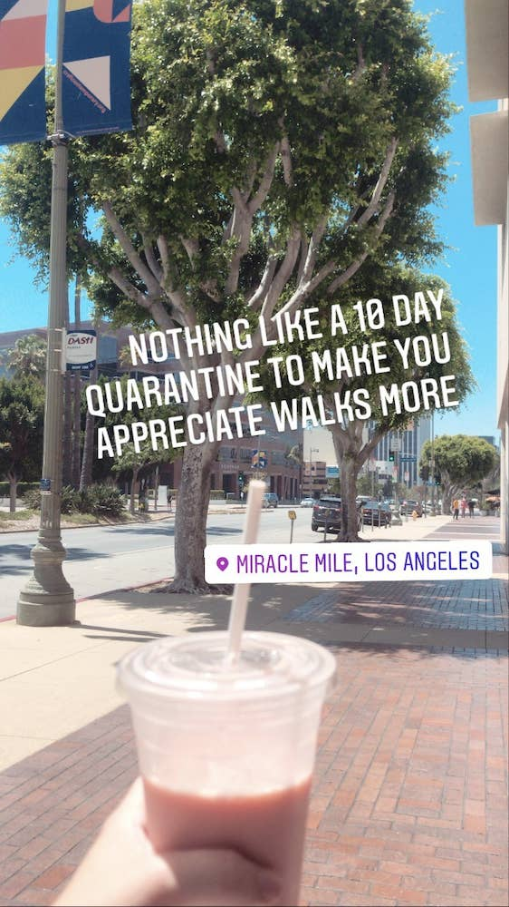 """Instagram story: """"Nothing like a 10 day quarantine to make you appreciate walks more"""""""