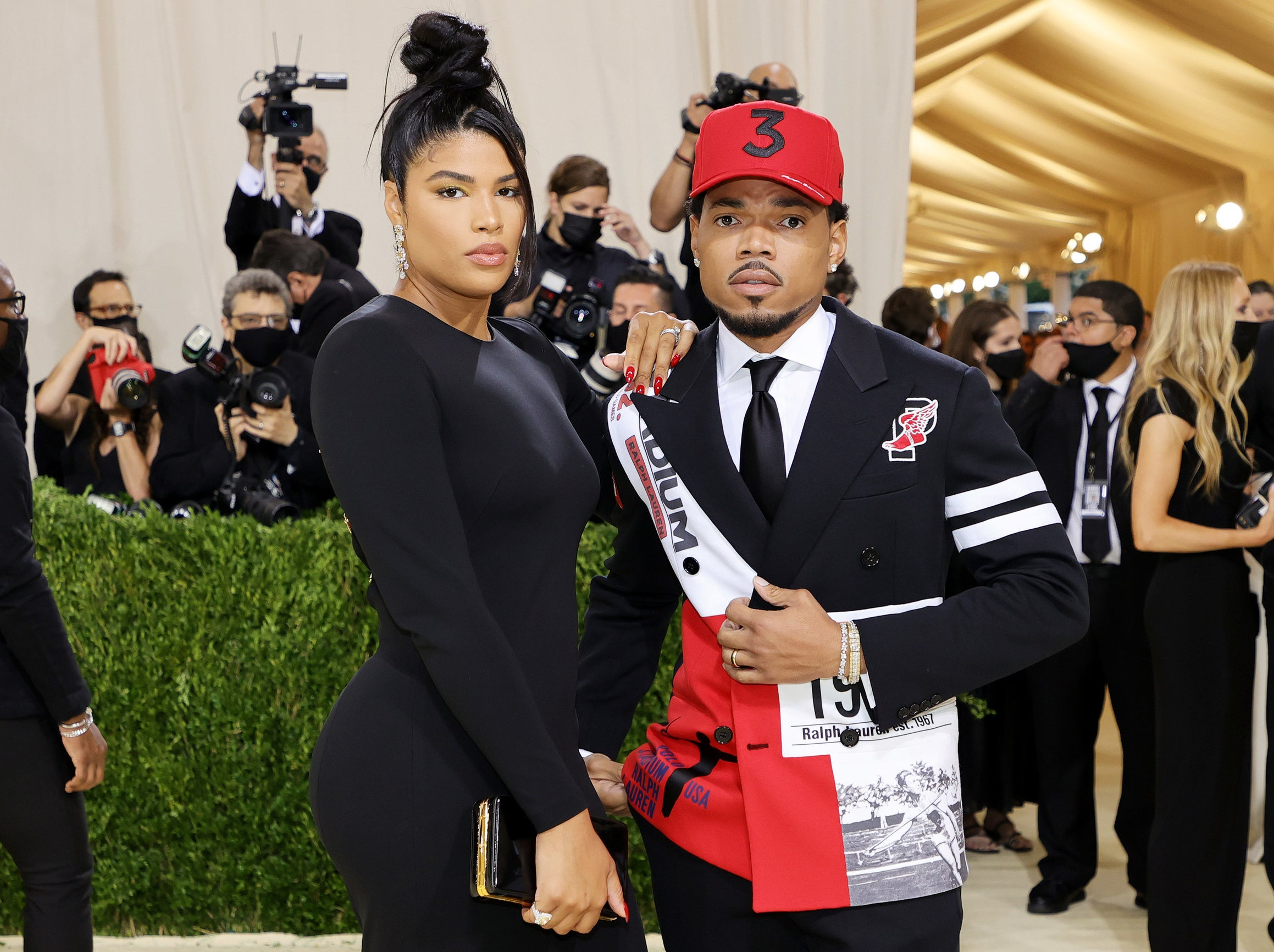 Kirsten Corley and Chance the Rapper attend The 2021 Met Gala Celebrating In America: A Lexicon Of Fashion