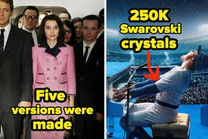 Five versions were made written over the outfit Jackie Kennedy wore when President Kennedy was assassinated in Jackie and 250k Swarovski crystals written over Elton John's Dodgers outfit in Rocketman