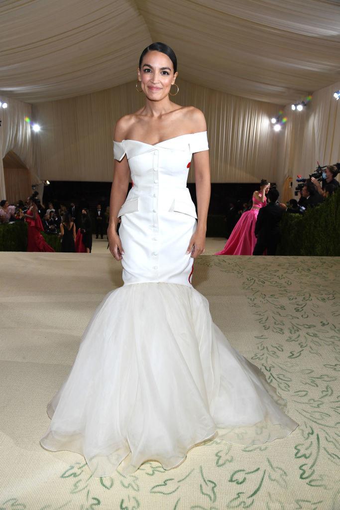 Alexandria Ocasio-Cortez attends The 2021 Met Gala Celebrating In America: A Lexicon Of Fashion