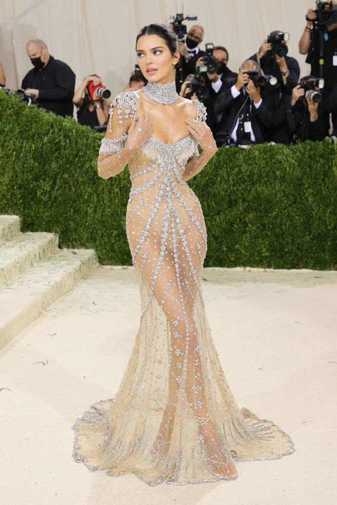 Kendall wore a sheer sparkly floor-length gown