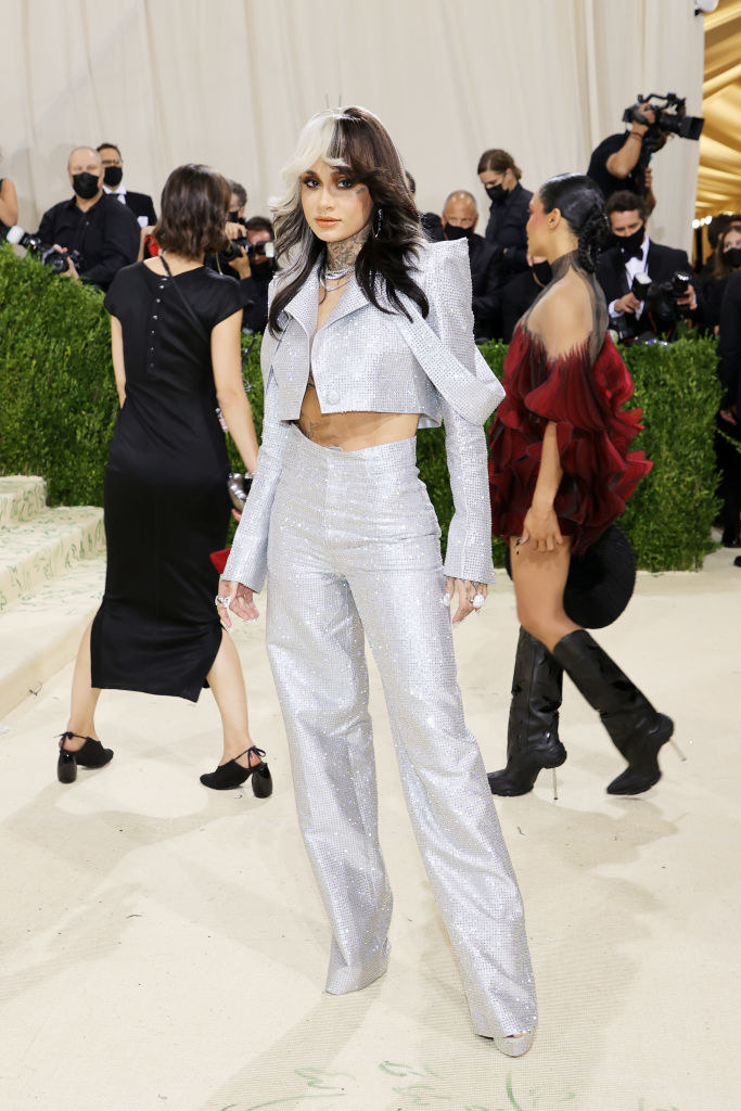Kehlani wears a sparkly cropped blazer with shoulder pads and matching pants