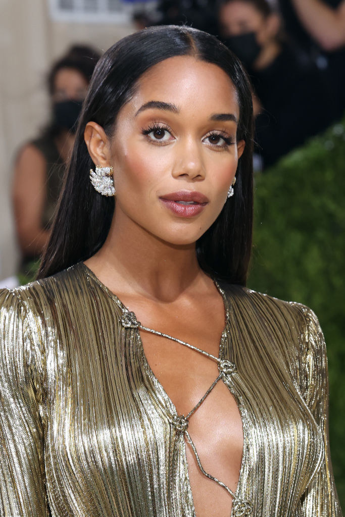 A close up ofLaura Harrier as she shows off her natural makeup