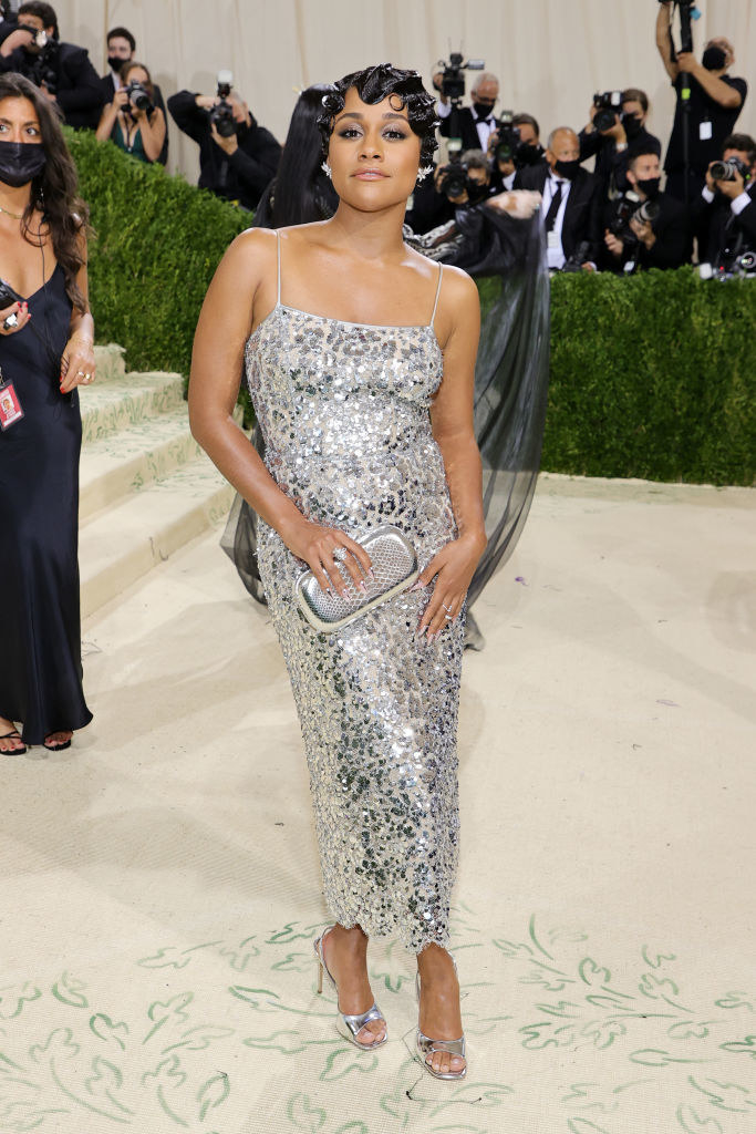 Ariana DeBose wears a thin strap ankle length sparkly gown