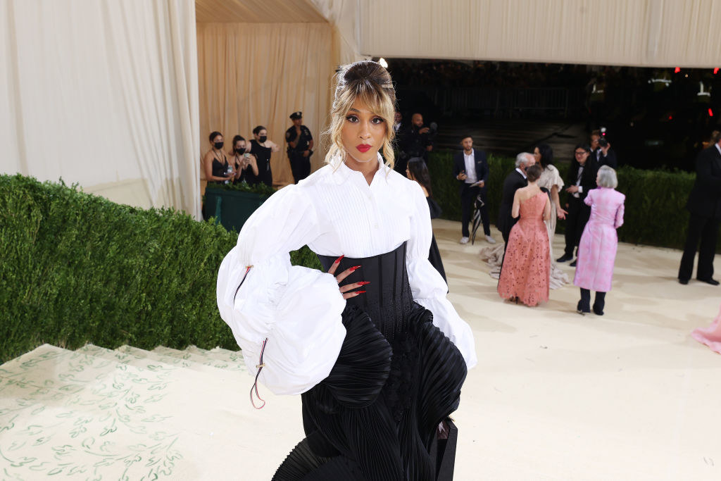 A close up ofMj Rodriguez as she poses on the Met steps