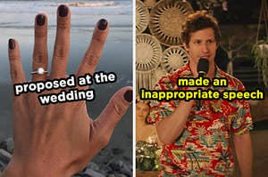 On the left, someone showing off their engagement ring labeled proposed at the wedding, and on the right, Andy Samberg wearing a Hawaiian shirt and holding a microphone as Nyles in Palm Springs labeled made an inappropriate speech