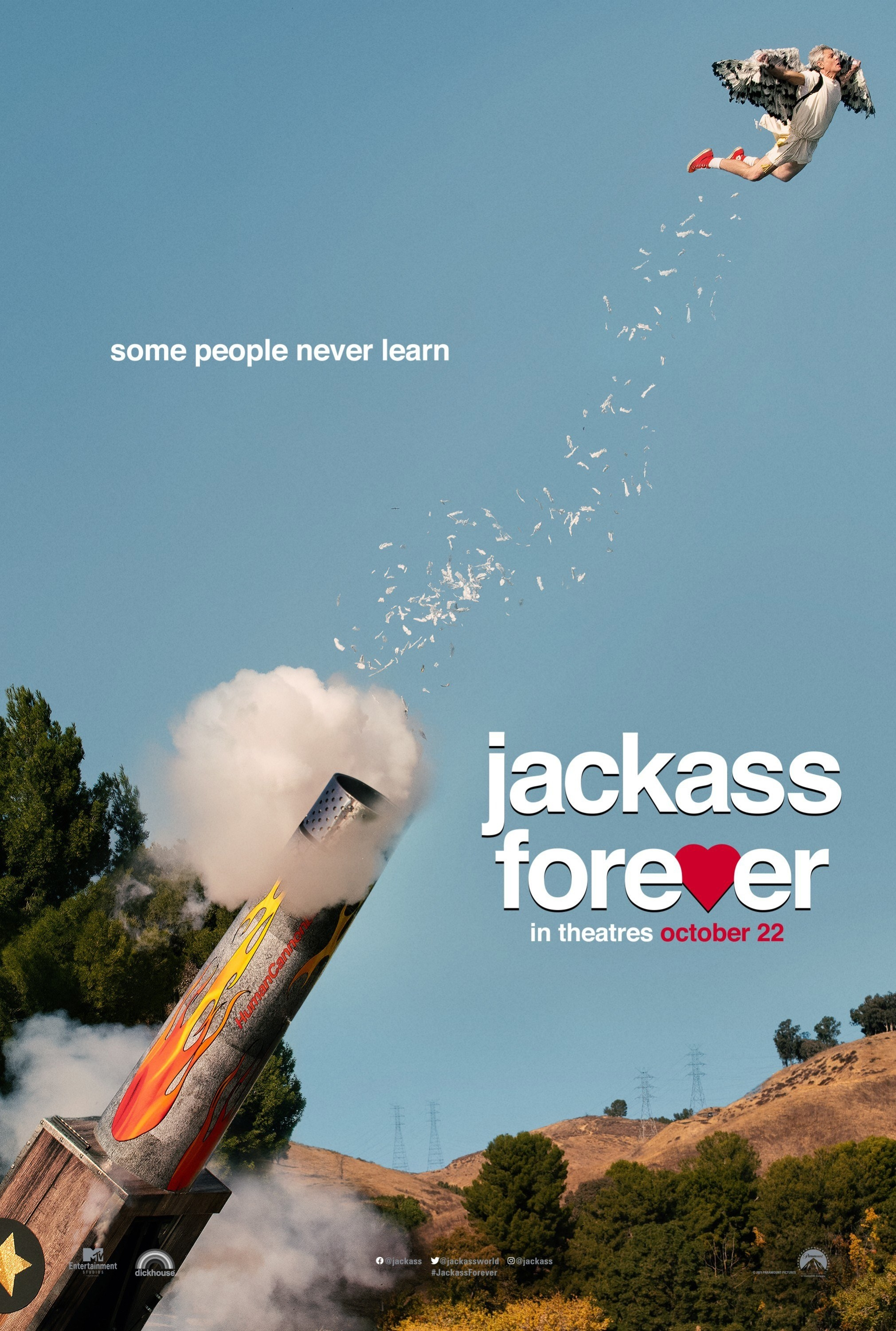 """The poster for Jackass 4, with slogan, """"Some people never learn"""""""