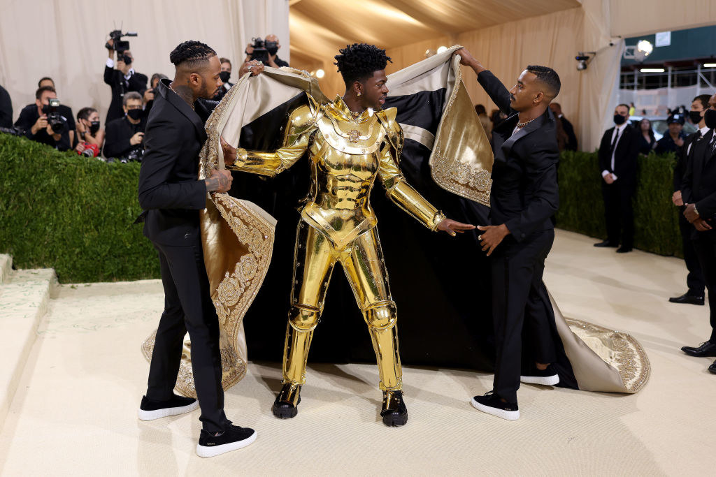 Lil Nas revealing a suit of armor