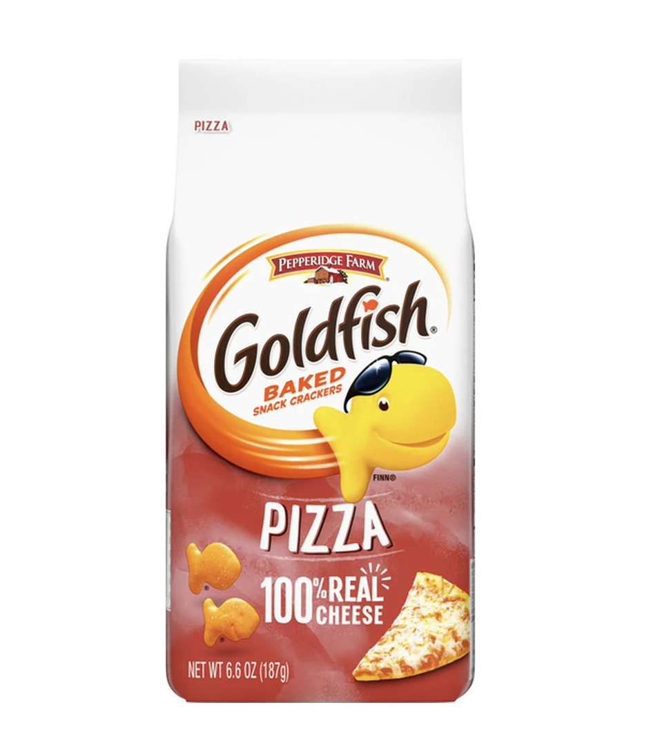 bag of pizza-flavored Goldfish