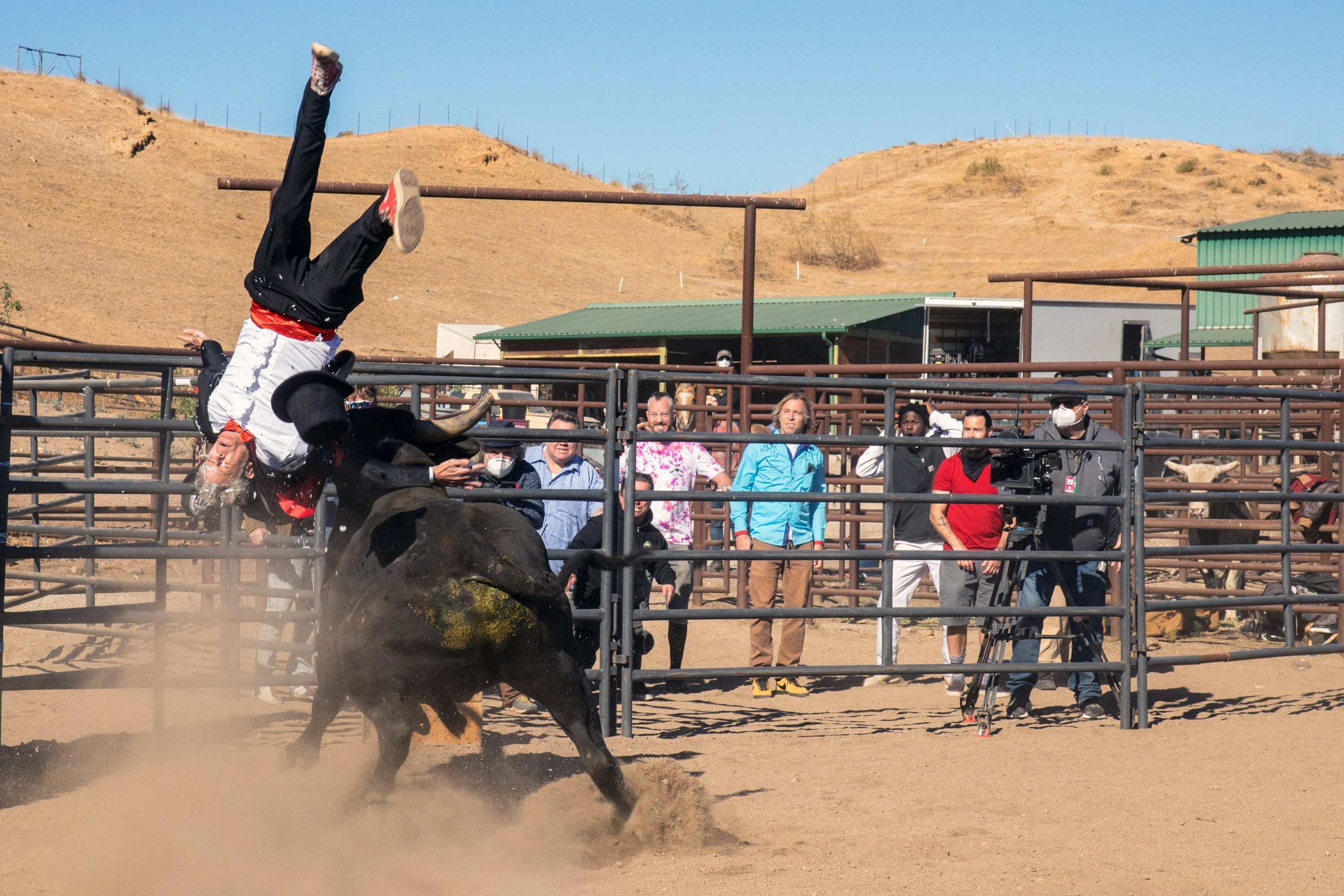 Johnny Knoxville getting hit by a bull