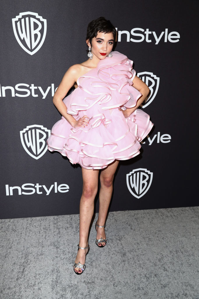 short candy-colored dress with large ruffles