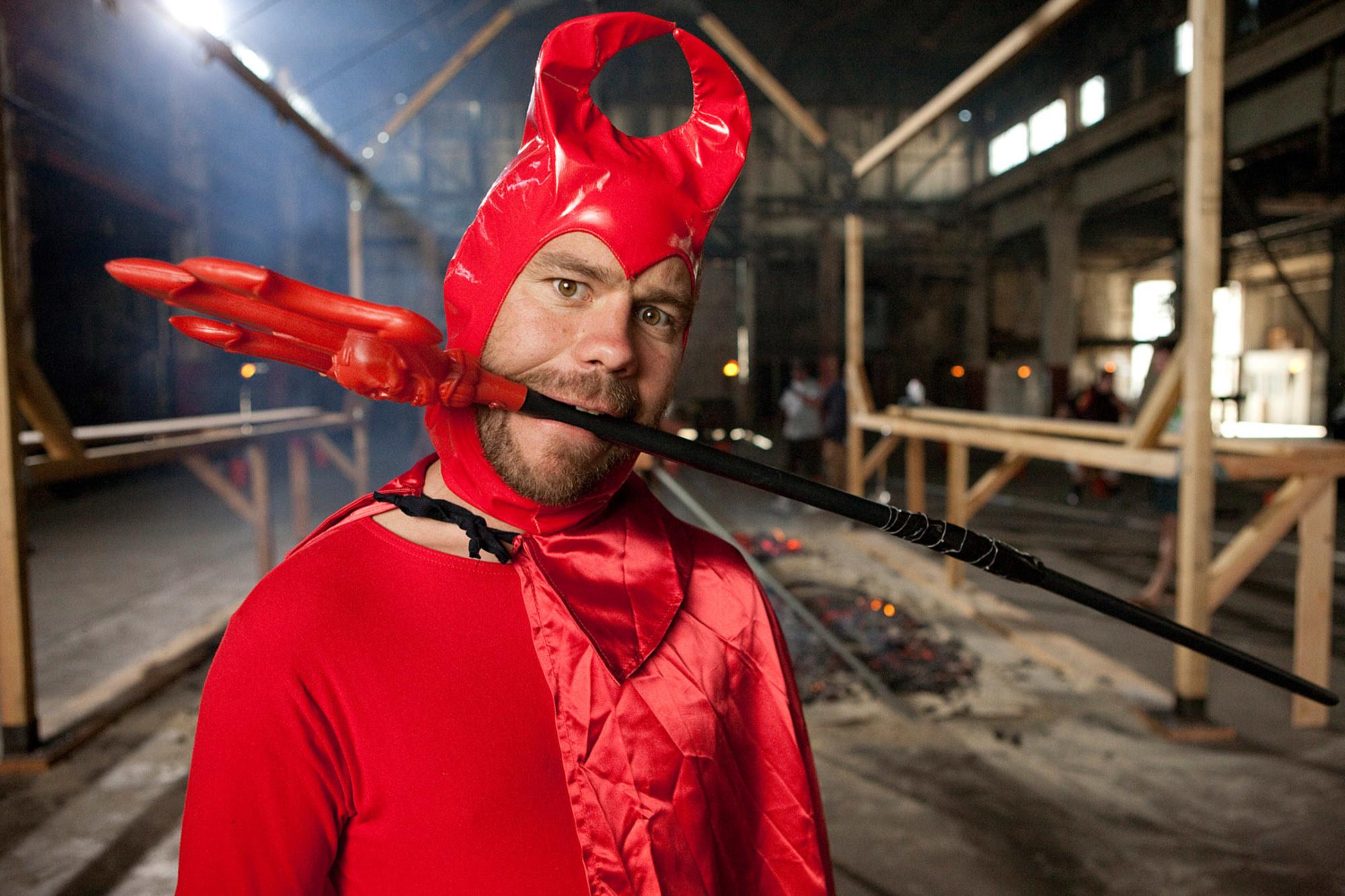 Chris Pontius in the devil costume