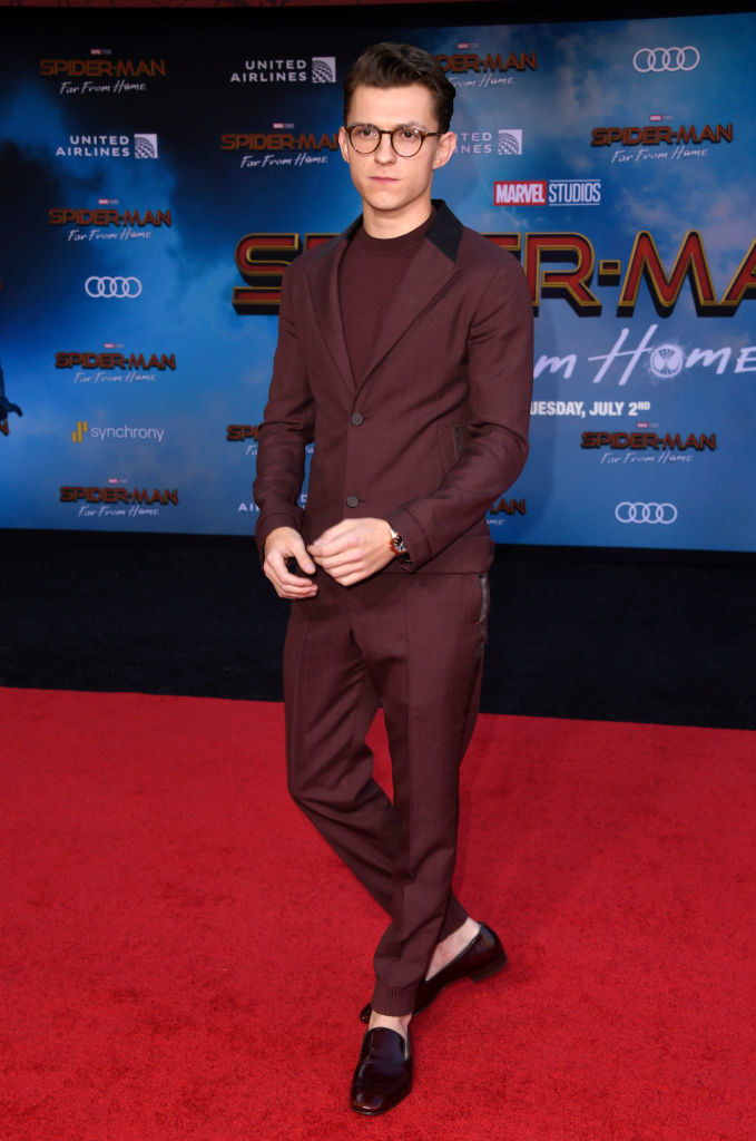wine-colored monochrome suit and coordinating shoes