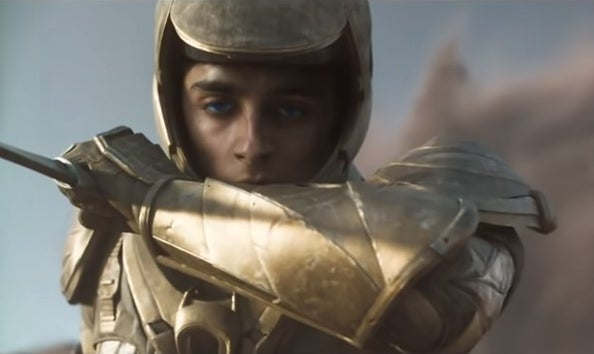 """Paul from """"Dune"""" wearing gold armor"""