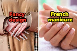 """Nails are shown on the left labeled, """"Fancy design"""" and on the right labeled, """"French manicure"""""""