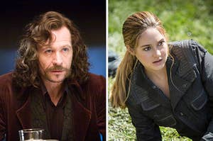 sirius from harry potter on the left and tris from divergent on the right