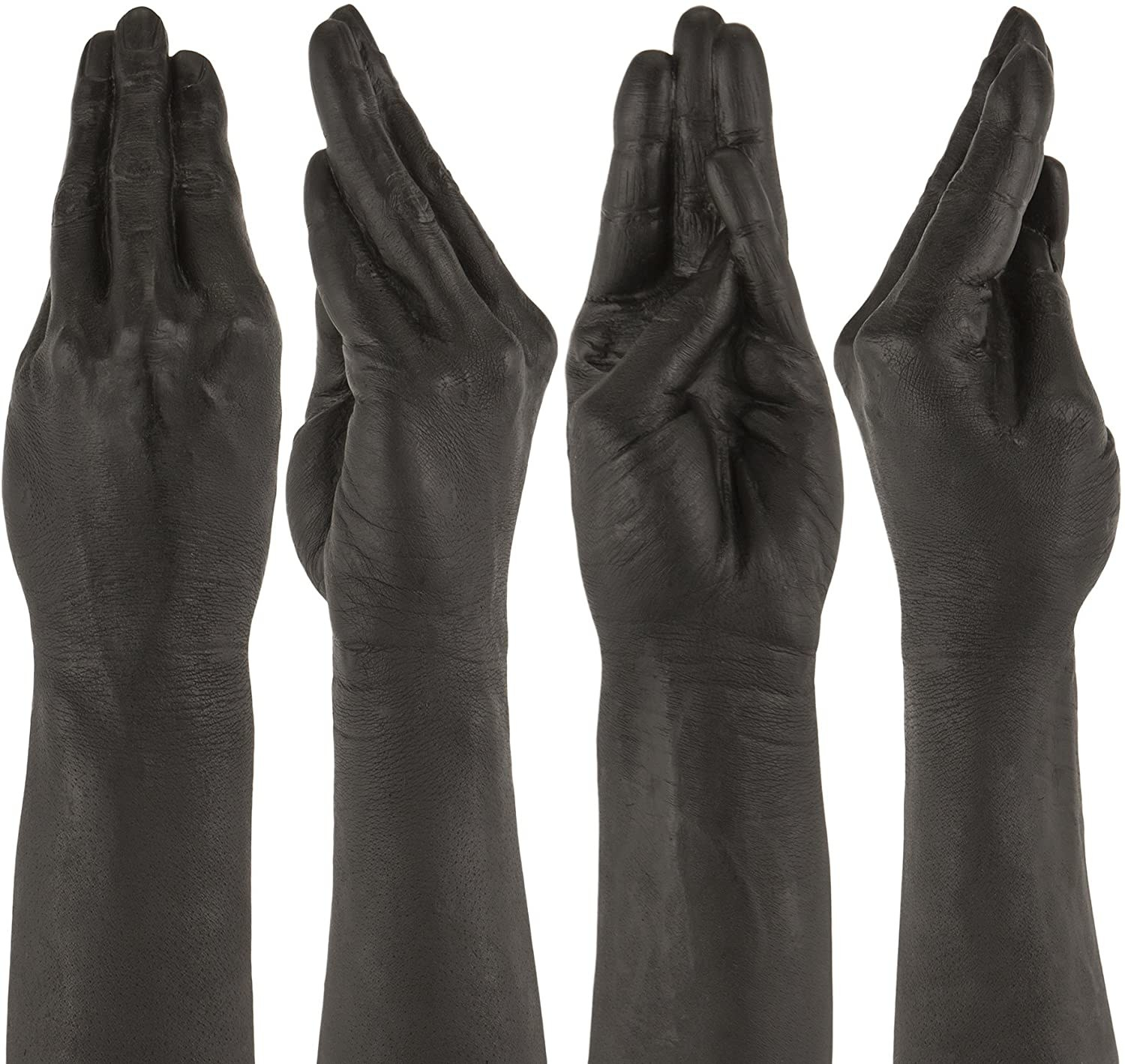 Black hand-shaped dildo from various angles