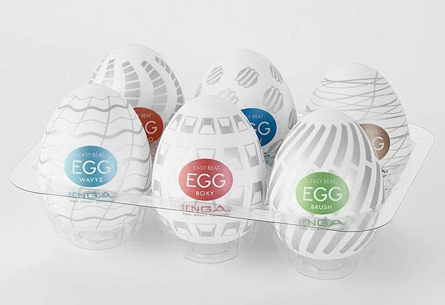 A carton of six egg-shaped Easy Beat Egg masturbators