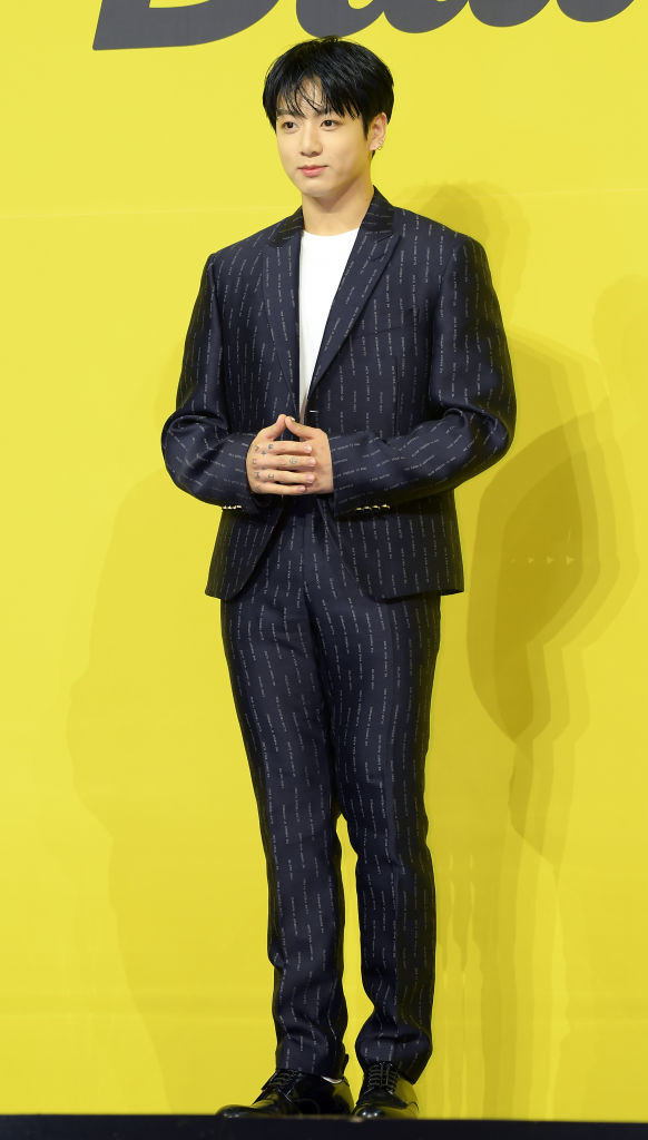 classic suit with thin stripes