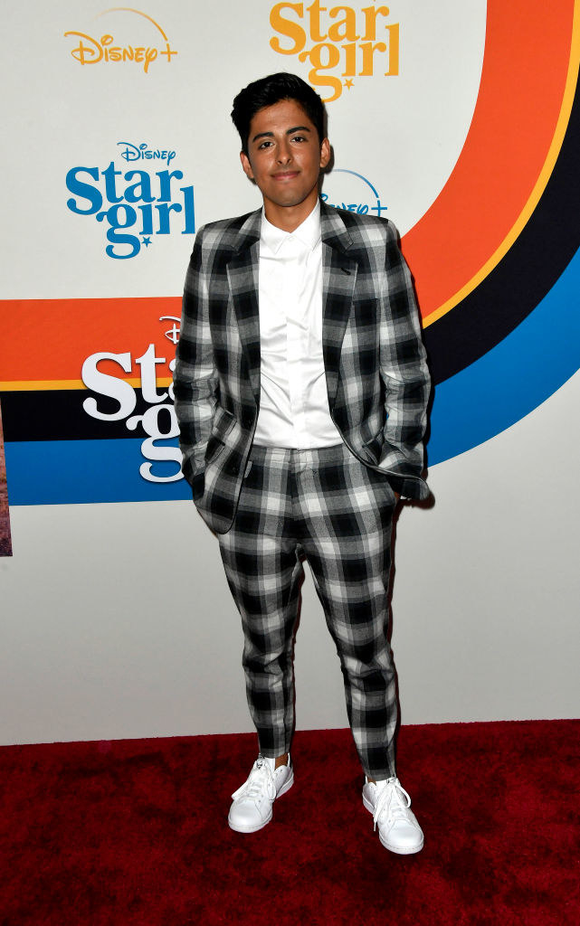 buffalo plaid suit and sneakers