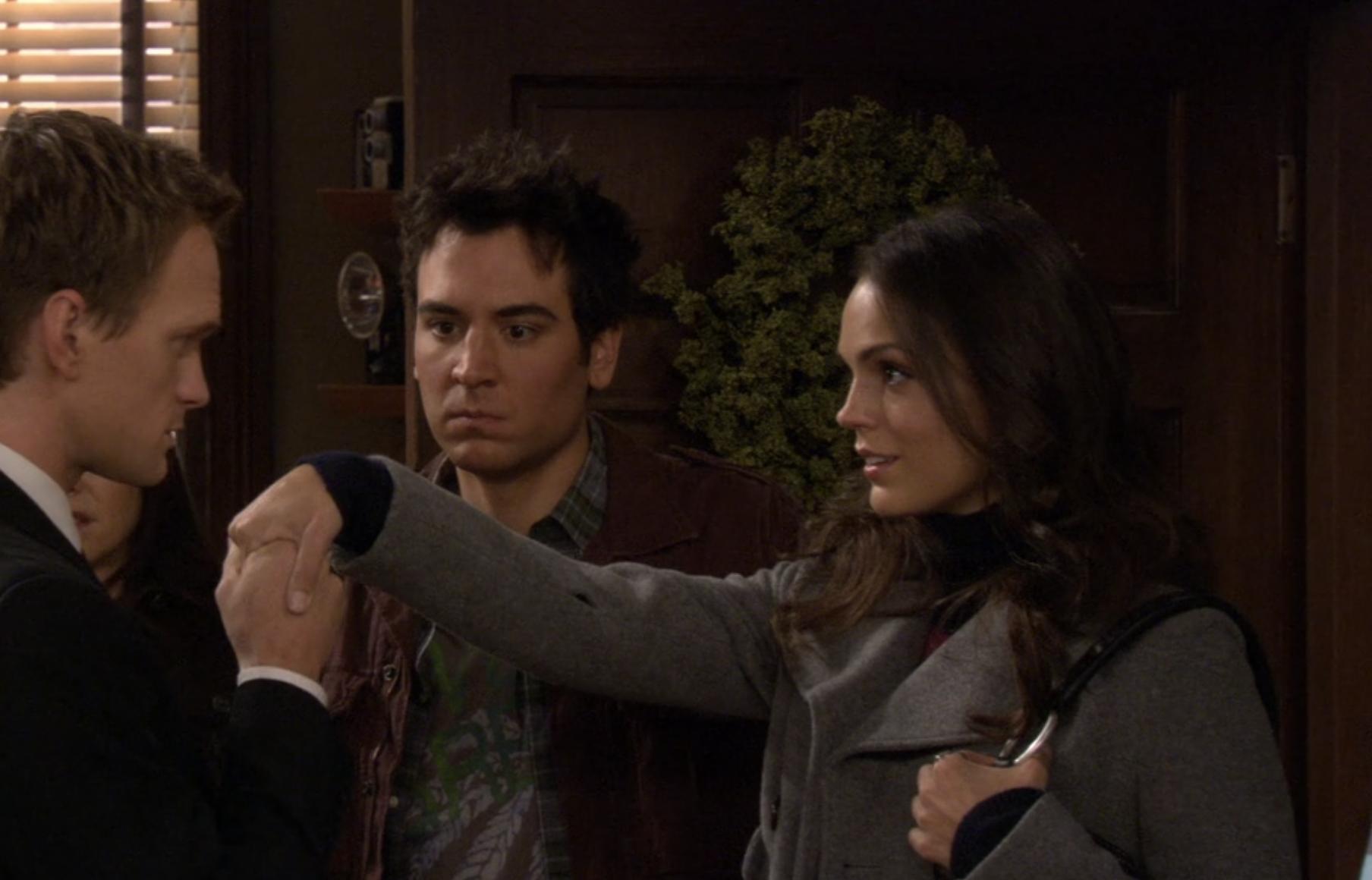 Barney kissing Heather's hand